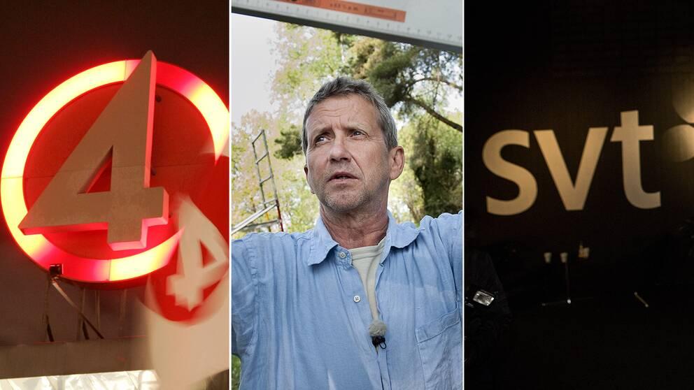 TV4-skylt, Martin Timell, SVT-logga