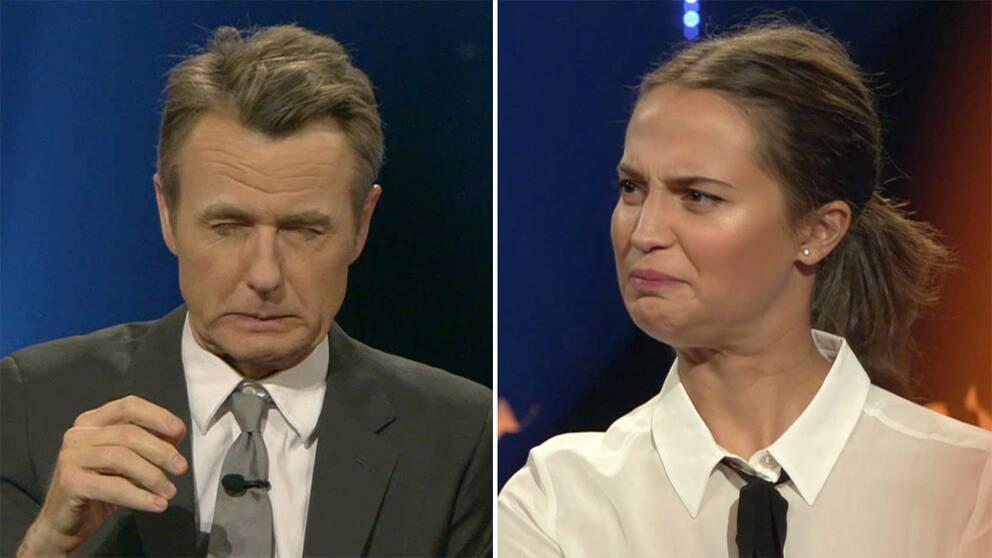 Till vänster Fredrik Skavlan. Till höger Alicia Vikander.
