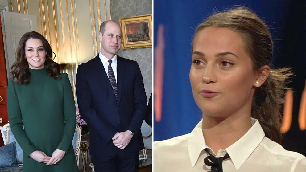 Till vänster Kate och William. Till höger Alicia Vikander.