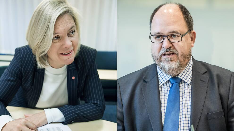 Finansminister Magdalena Andersson (S) och LO-ordförande Karl-Petter Thorwaldsson