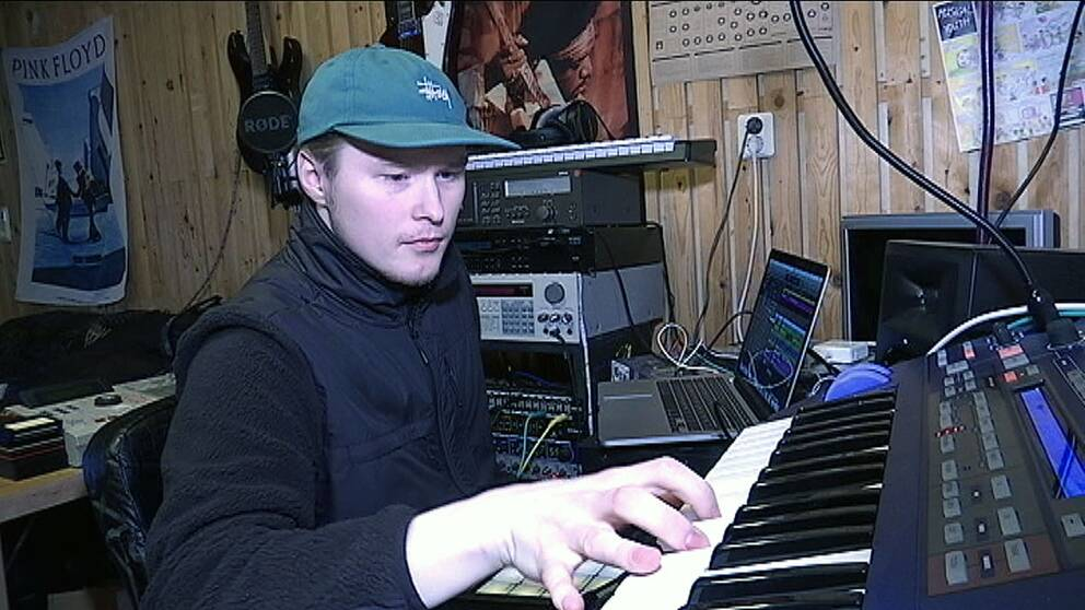 Victor Strand i studion i Kiruna