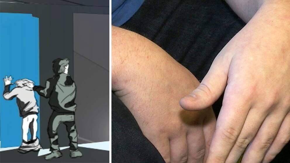 illustration av man och pojke, en närbild på en persons händer