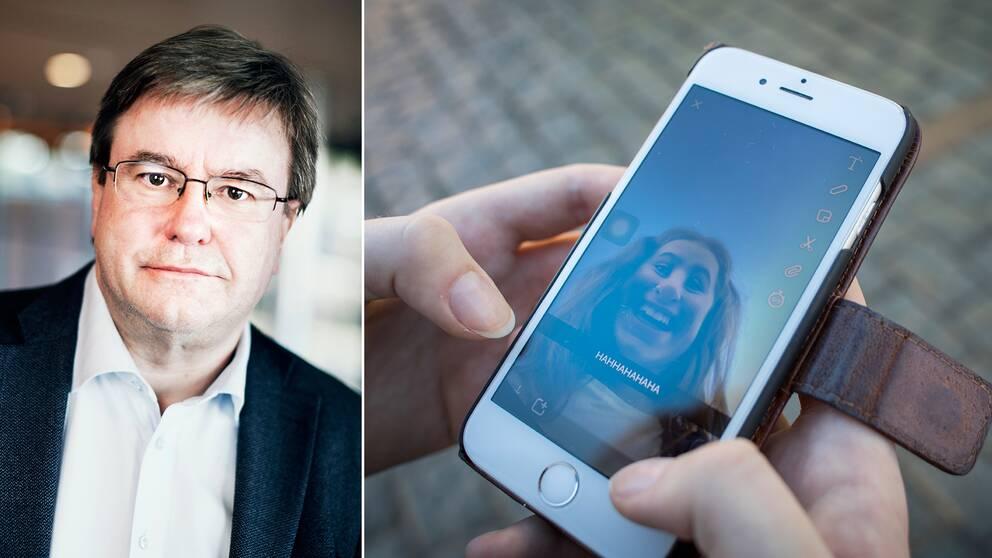 Curt Hagquist, professor i folkhälsovetenskap vid Centrum för forskning om barn och ungdomars psykiska hälsa vid Karlstads universitet, och en mobiltelefon
