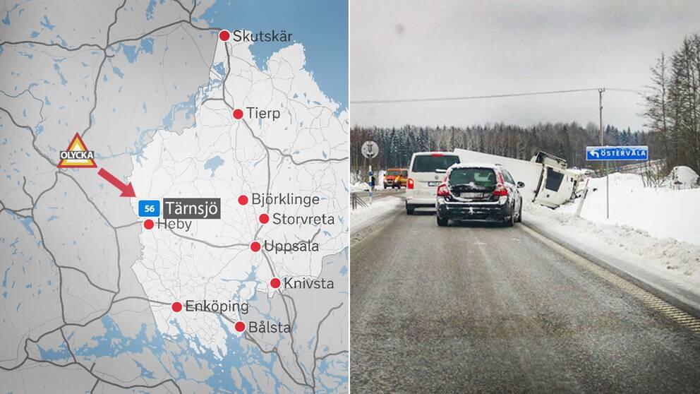 Lastbil valte over personbil tre personer skadade