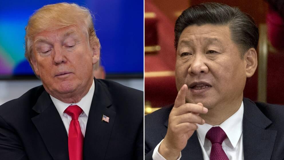 Till vänster USA:s president Donald Trump, till höger Kinas president Xi Jinping.