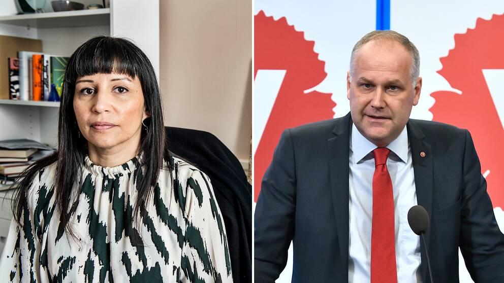Den nu avhoppade riksdagsledamoten Rossana Dinamarca (V) menar att partiet i princip enbart lyfter partiledare Jonas Sjöstedt i sociala medier.