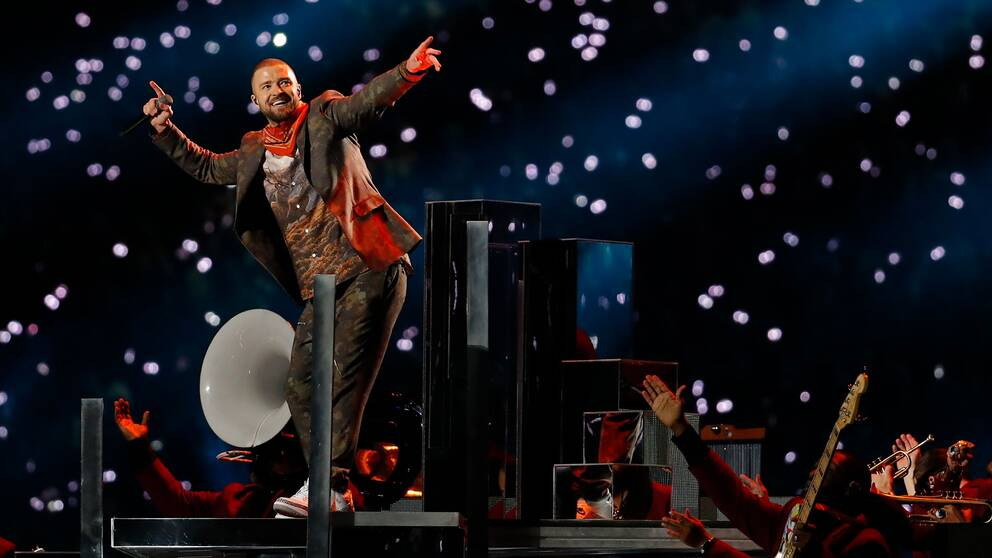 Justin Timberlake under framträdandet i halvtidsvilan under Super Bowl.