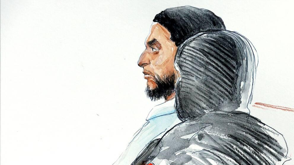 En tecknad bild av Salah Abdeslam under hans rättegång i Bryssel den 5 februari.