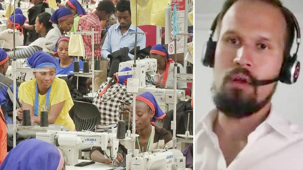 Klädjätten H&M:s Etiopienchef Pierre Börjesson och sömmerskor i företagets fabrik i Etiopien