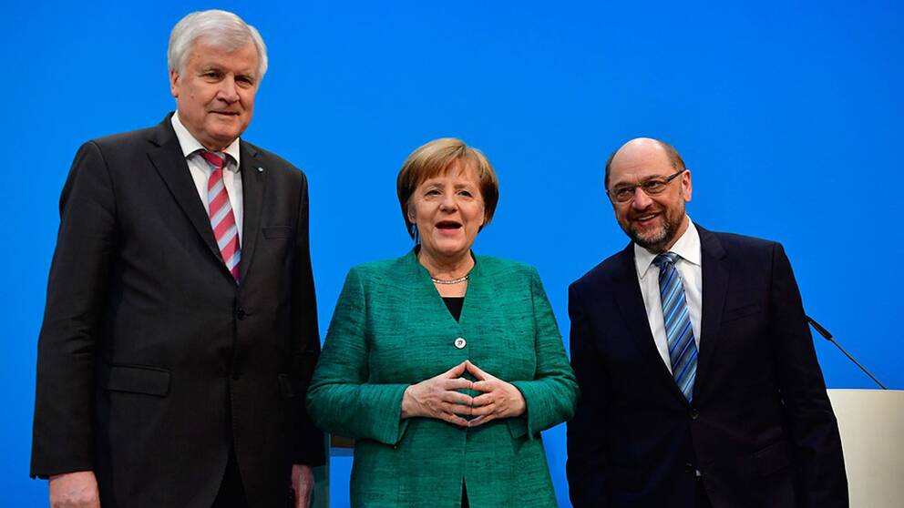 Horst Seehofer, Angela Merkel och Martin Schulz har förhandlat fram ett politiskt program för en ny stor koalition.