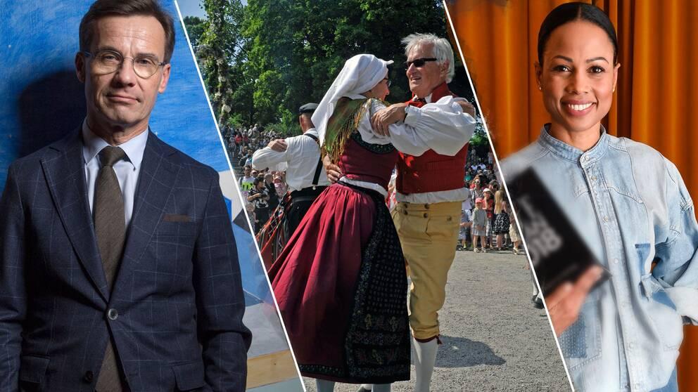 Ulf Kristersson (M)/ folkdans/ Alice Bah Kuhnke (MP)