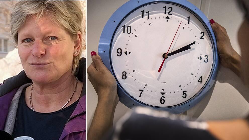 kvinna tar ner blå klocka från väggen/intervjubild på annan kvinna