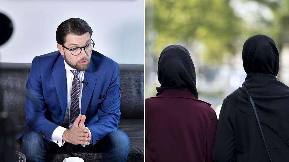 SD:s partiledare Jimmie Åkesson till vänster. Två kvinnor med slöja till vänster.