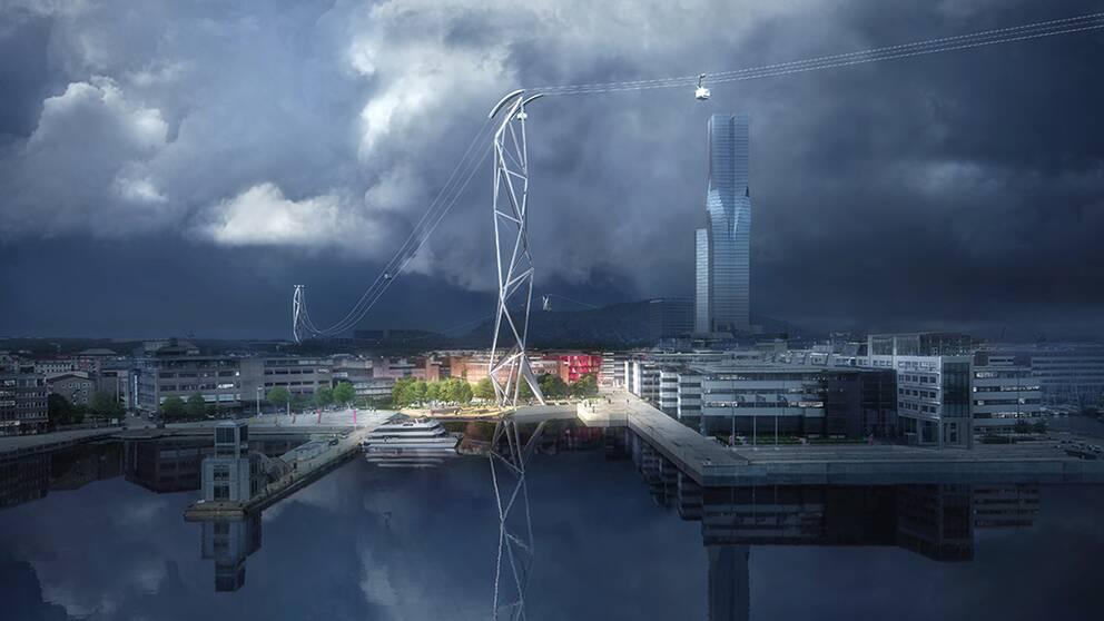 Här är det vinnande designförslaget för den planerade linbanan i Göteborg.