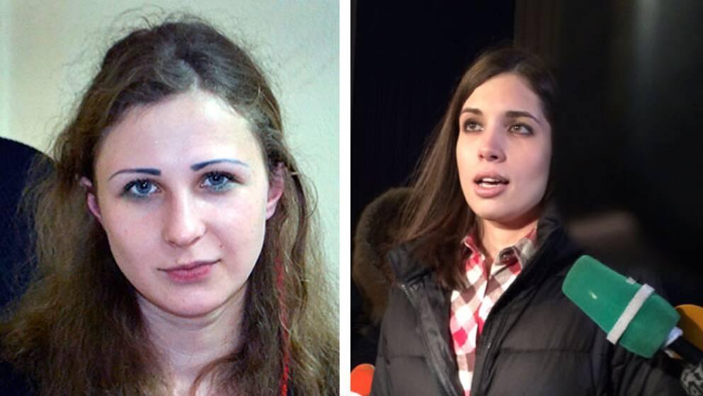Nytagna bilder visar de två Pussy Riot-medlemmarnas första stund i frihet.