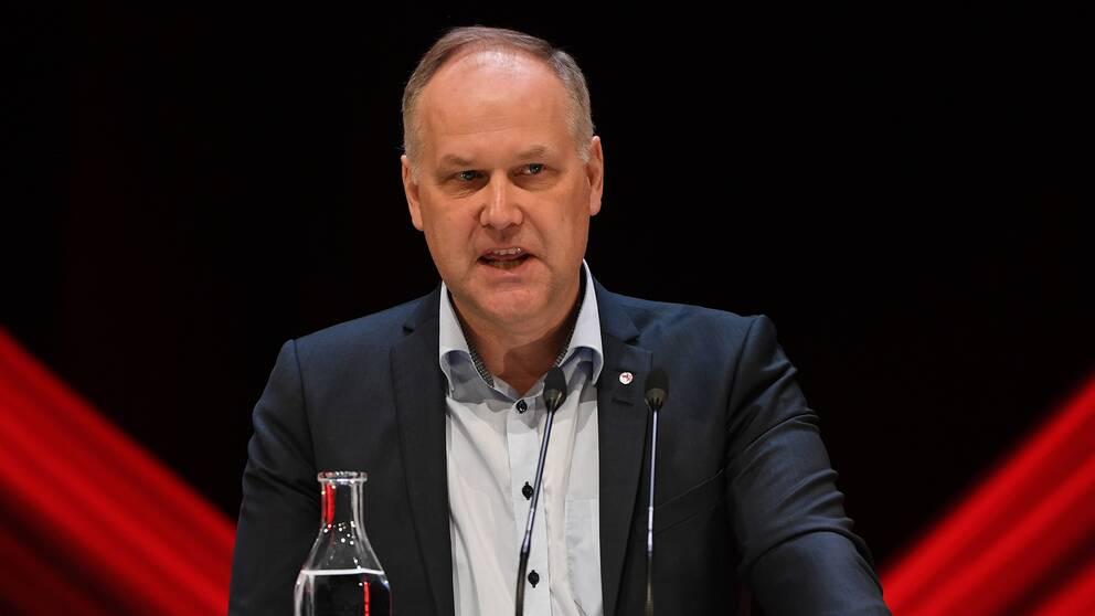 Vänsterpartiets partiledare Jonas Sjöstedt under partiets kongress i Karlstad