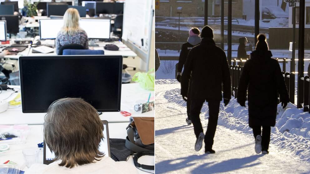 En bild på två kvinnor framför varsin dator, samt en bild på två personer som är ute på promenad.