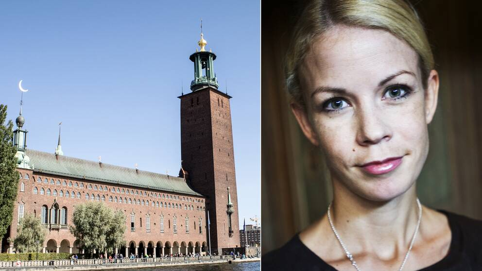 Stadshuset till vänster, Anna König Jerlmyr (M), oppositionsborgarråd, till höger.