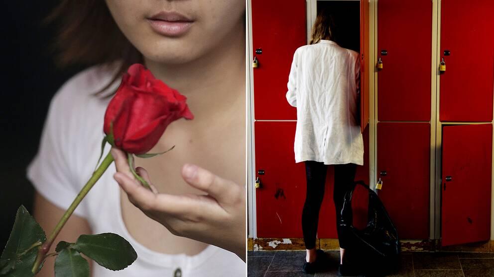 En kvinna med ros och en högstadieelev vid ett språk.