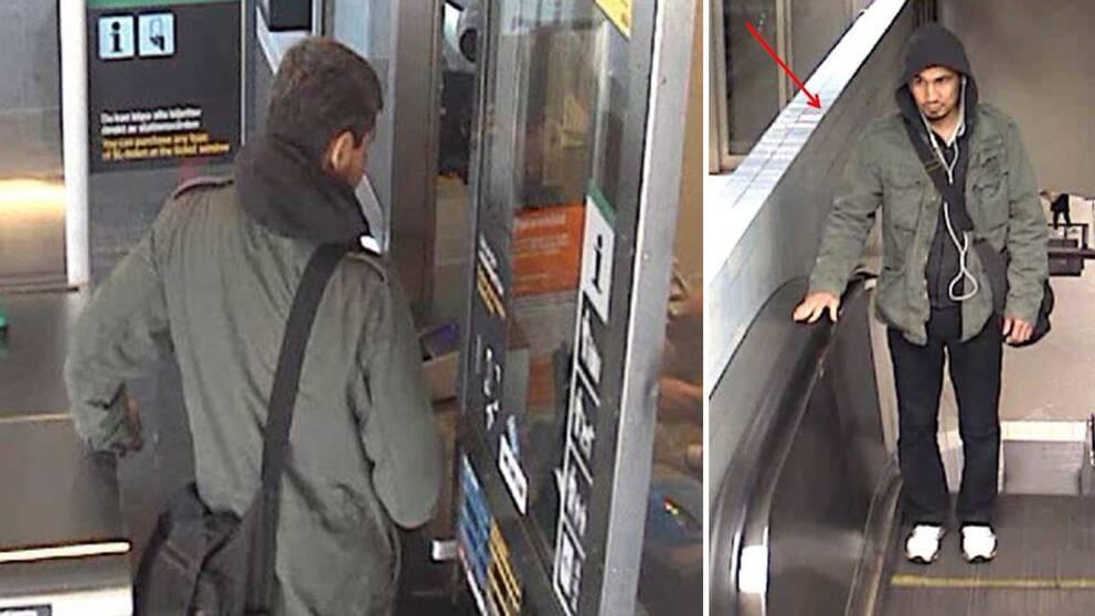Bilder som visar den terroråtalade Rakhmat Akilov från tunnelbane-spärren i Vårby gård, respektive en rulltrappa vid Odenplan.