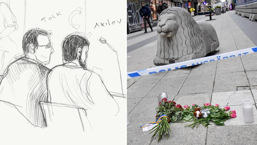 Teckning av Akilov i rättssalen samt avspärrningar och blommor på Drottninggatan dagen efter dådet.