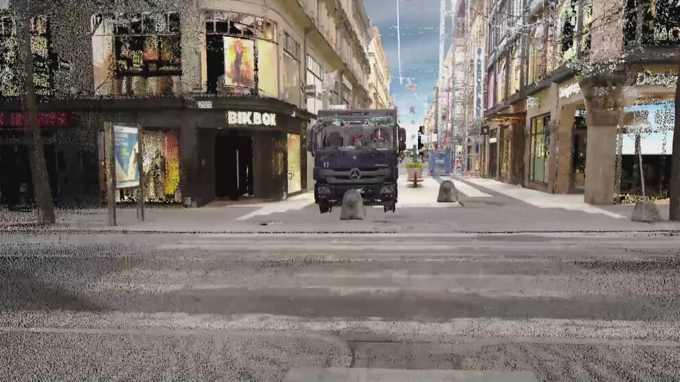 Så körde lastbilen på Drottninggatan