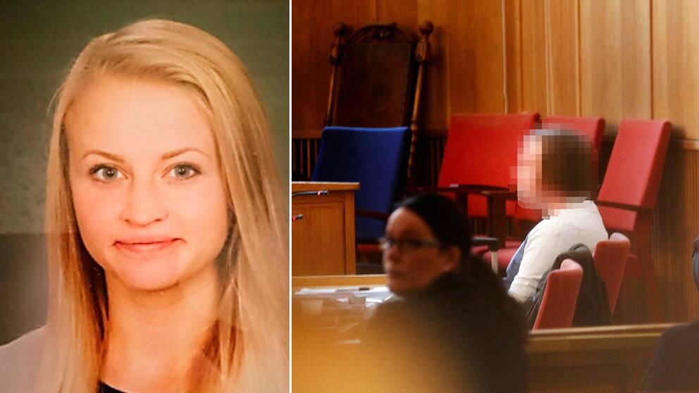Arkivbild på Tova Moberg, och en bild på ex-pojkvännen i rätten, med ansiktet blurrat.
