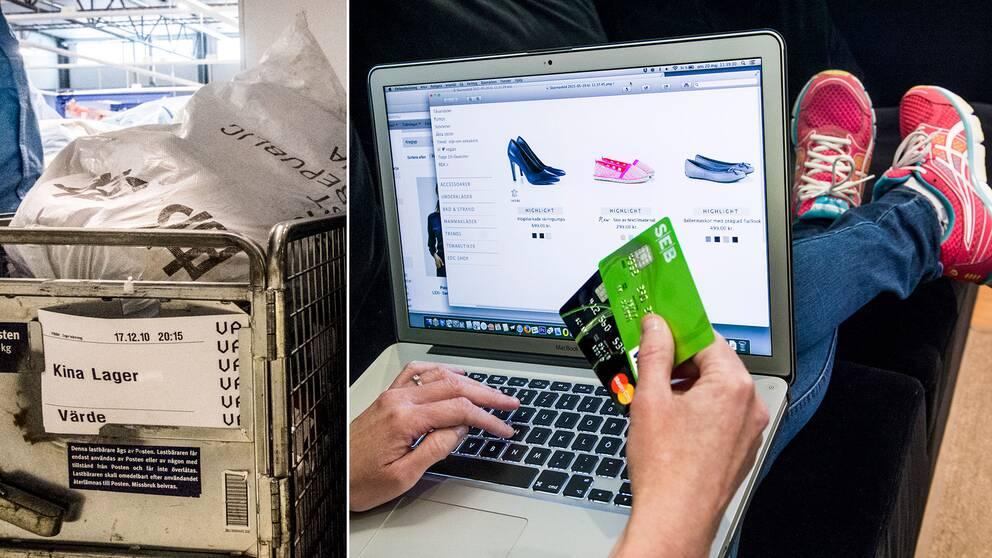 Kinesiska varor på Postnords lager på Arlanda, samt en person som handlar på nätet.