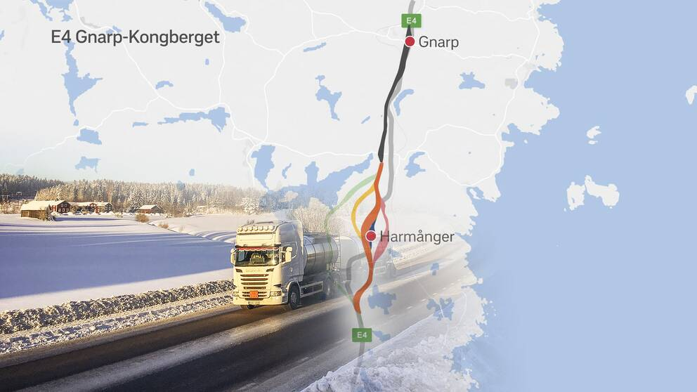 Trafikverkets korridorval för ny E4 genom Nordanstig.