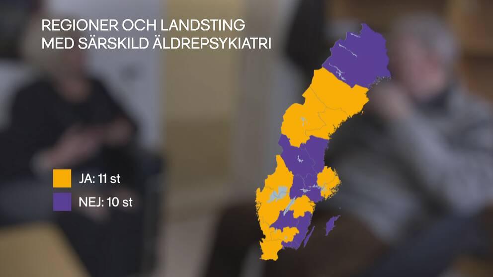 Bara elva av tolv landsting/regioner erbjuder särskild äldrepsykiatri