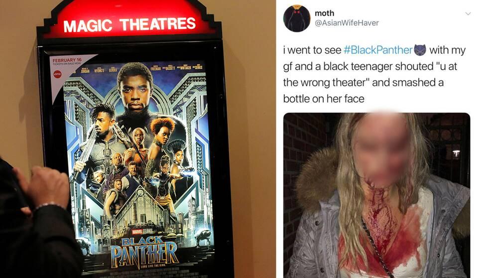 """""""Jag gick och såg Black Panther med min flickvän och en svart tonåring skrek 'Du är på fel biograf' och krossade en flaska i hennes ansikte"""", står det i tweeten."""
