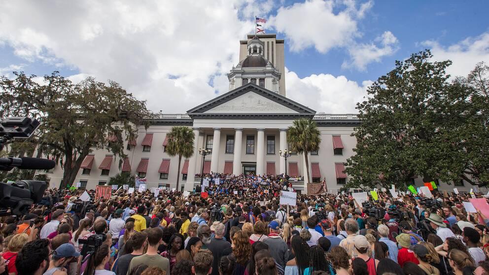 Ett stort antal människor protesterade mot vapenvåld utanför Floridas delstatskongress i Tallahassee under onsdagen den 21 februari.