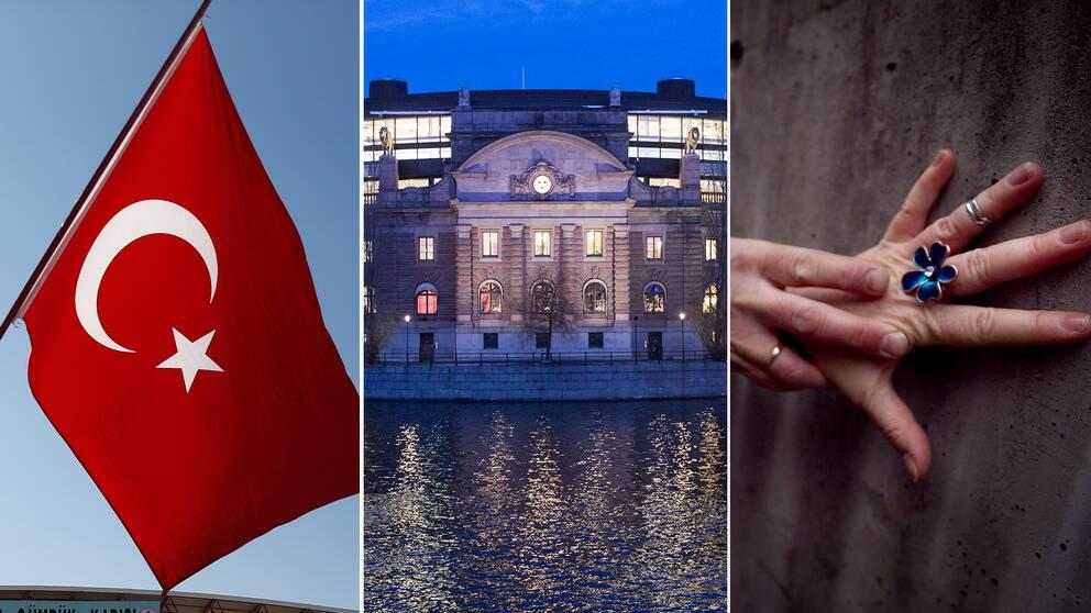 Den turkiska flaggan med månen och stjärnan, symboler för islam, Sveriges riksdag och en hand upptryckt mot en vägg.