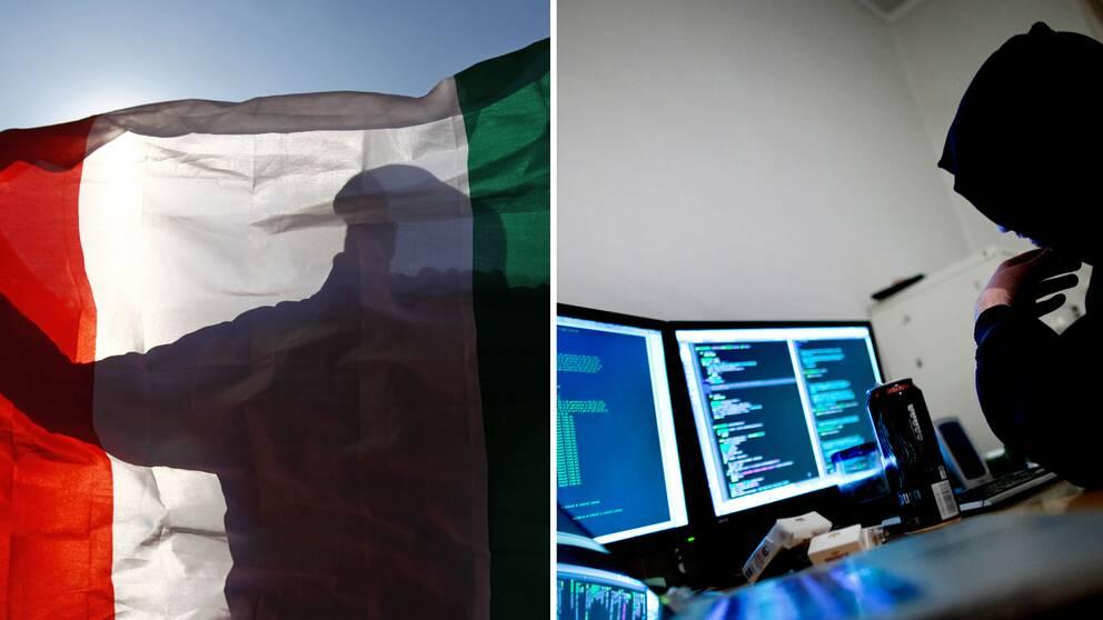 En italiensk flagga och en hackare.