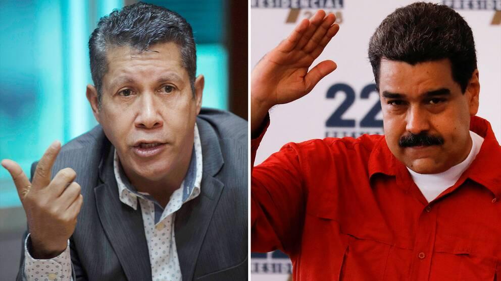 Henri Falcon, före detta guvenören (till vänster), som nu utmanar Venezuelas sittande president Nicolas Maduro om presidentposten i valet senare i vår.