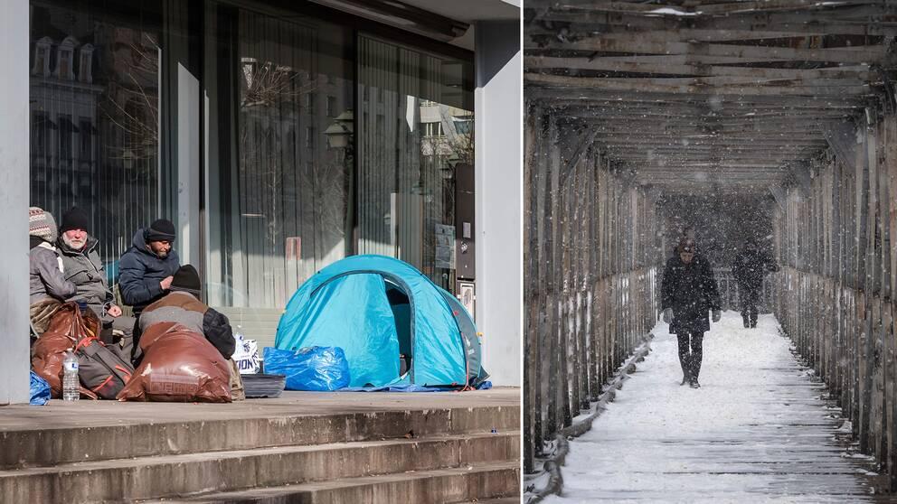Hemlösa har slagit läger vid en byggnad i centrala Bryssel (vänster). Människor går på en gångbro över järnvägsspår i Bukarest, Rumänien (höger).