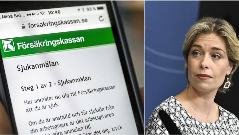 Sjukanmälan i Försäkringskassans app och Annika Strandhäll (S)