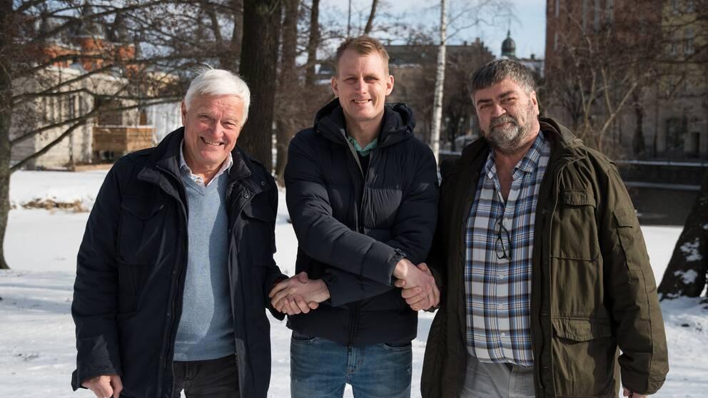 STCC-föraren Richard Göransson i mitten.