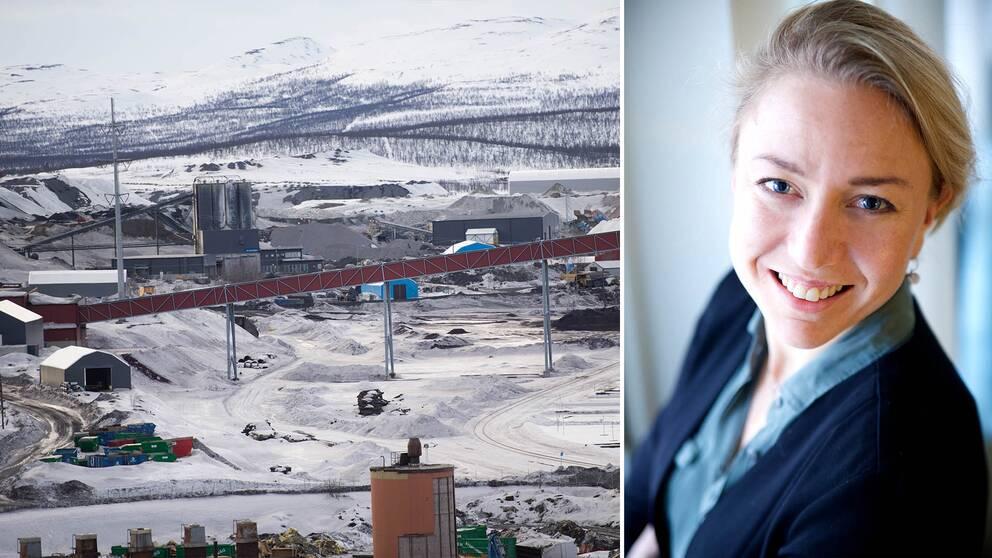 Delar av LKAB:s gruva i Kiruna (arkivbild) och bild på Anna-Karin Nyman.
