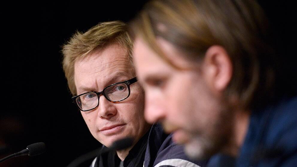 De friade journalisterna Magnus Falkehed och Niclas Hammarström mötte pressen efter frisläppandet.