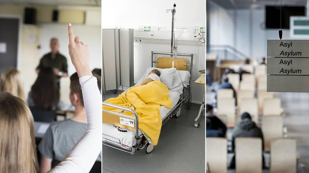 En mixbild på en elev, en person i en sjukvårdssäng och två asylsökande som sitter i ett väntrum.
