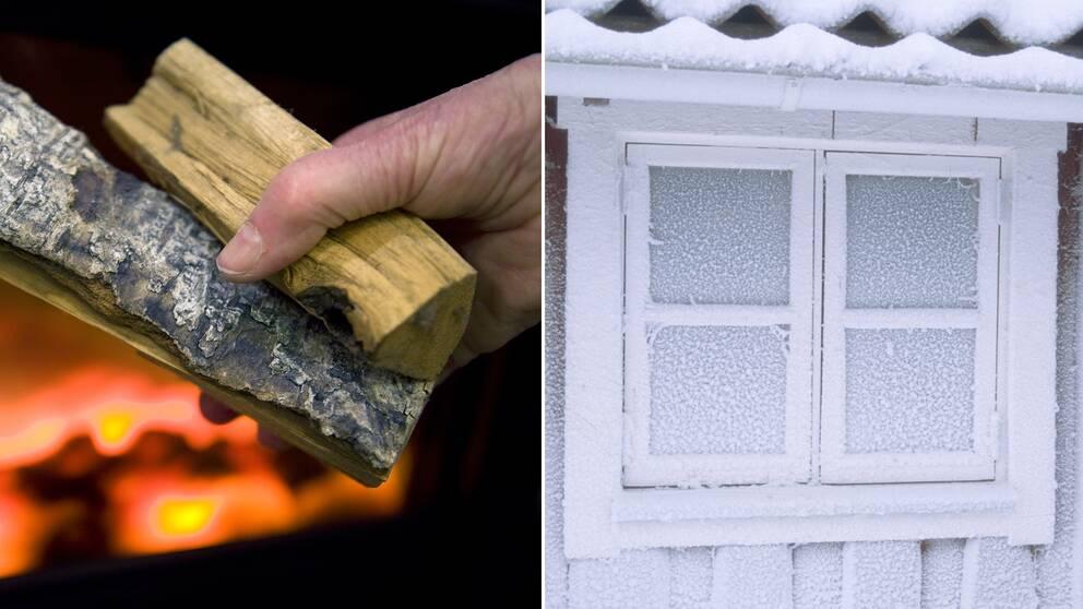 Bild på en person som ska tända en brasa inomhus och en bild på ett frostigt fönster.