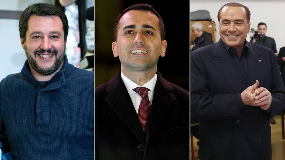 Från vänster: Främlingsfientliga Legas ledare Matteo Salvini, Femstjärnerörelsens Luigi Di Maio och Framåt Italiens ledare Silvio Berlusconi.