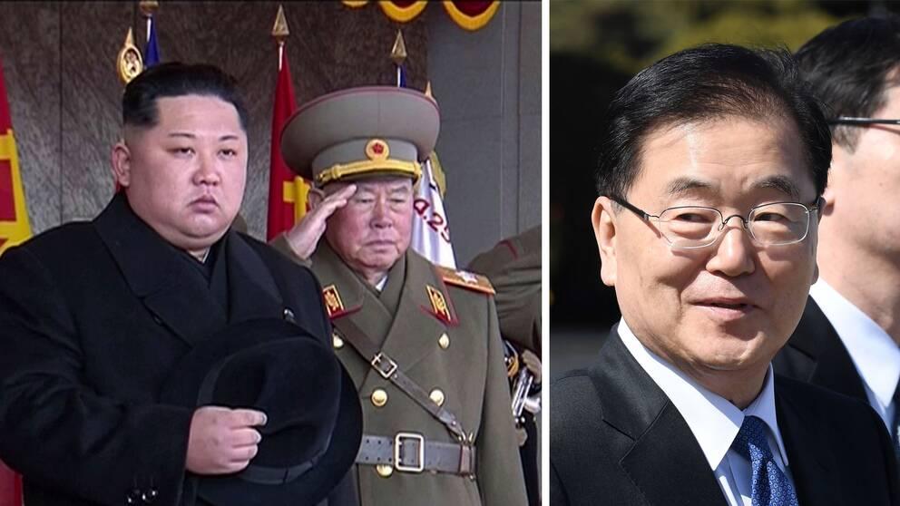 Den nordkoreanske ledaren Kim Jong-Un på en militärparad i februari i år. Sydkoreas nationella säkerhetsrådgivare Chung Eui-Yong.