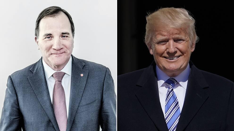 Sveriges statsminister Stefan Löfven (S) och USA:s president Donald Trump.