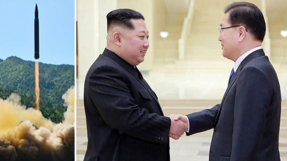 Kim Jong-Un och Chung Eui-Yong.