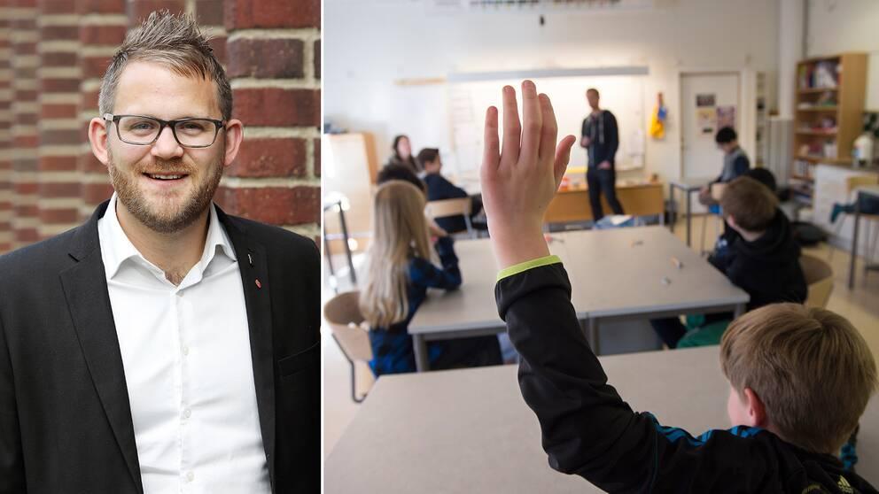 Johan Augustsson (S) och elever