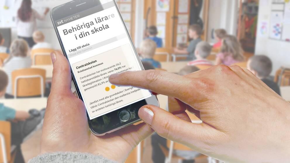 En hand som pekar mot en mobiltelefon. Personen använder SVT Nyheters app och kollar hur många behöriga lärare det finns på skolor i Kristianstads kommun.
