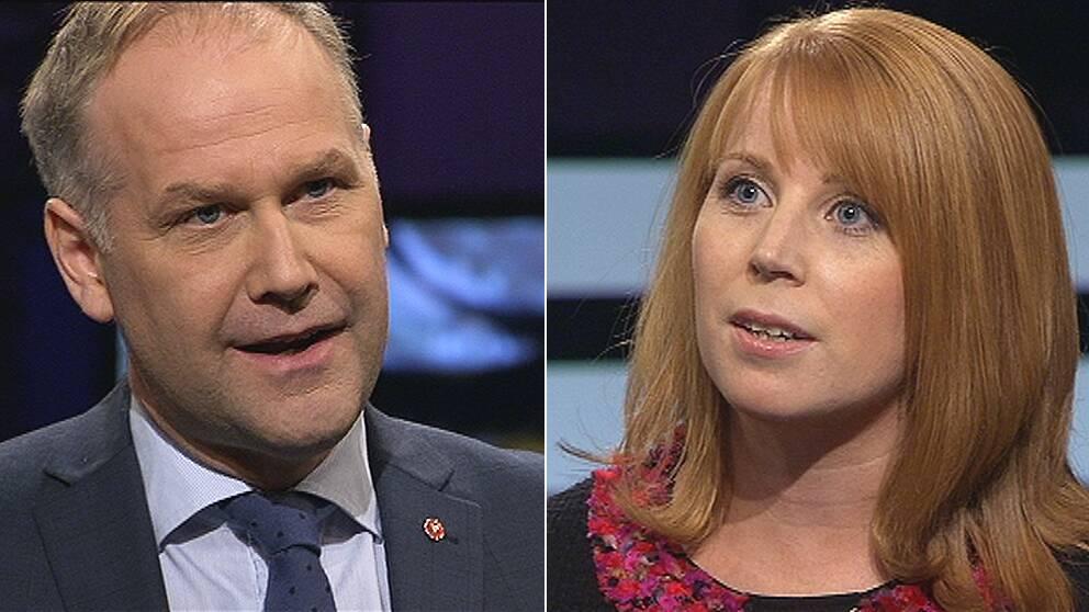 Jonas Sjöstedt (V) och Annie Lööf (C) debatterade vinster i välfärden i Agenda.