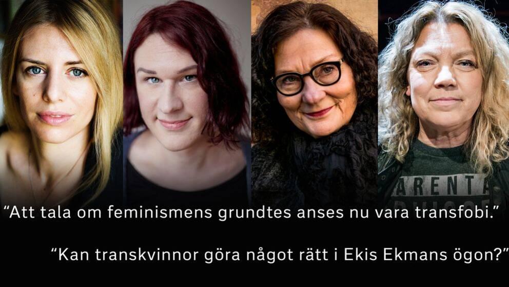 Kajsa Ekis Ekman, Maria Ramnehill, Ebba Witt-Brattström och Elisabeth Ohlson Wallin är några av de som gett sig in i transdebatten.